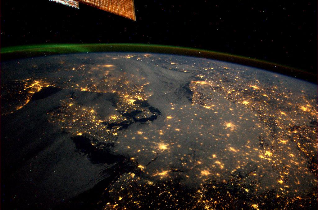 Դանիան, Նորվեգիան, Շվեդիան և Գերմանիան Միջազգային տիեզերական կայանի բարձրությունից