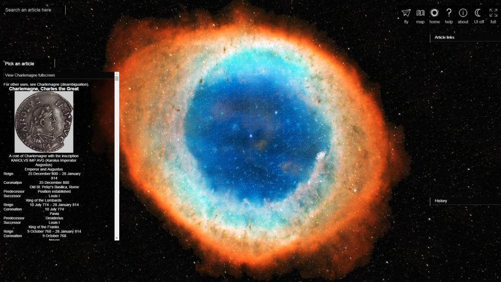Վիքիպեդիայի հոդվածները ներկայացվել են գալակտիկայի տեսքով
