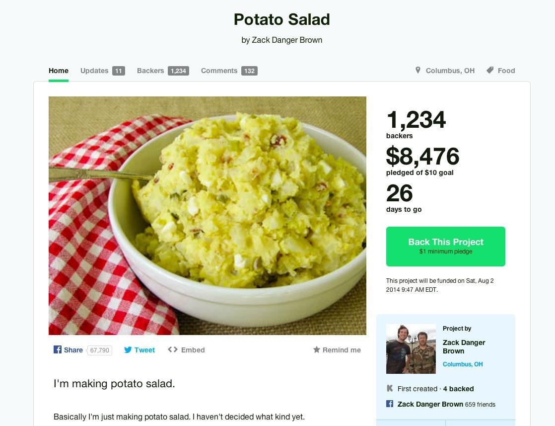 Kickstarter-ում կարտոֆիլով աղցանը հազարավոր դոլարներ է հավաքել