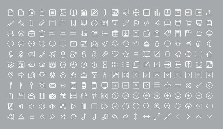 220 անվաճար գծային նշան (line icons)